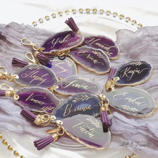 1pcs lot Unique Custom name Agate Keychain Birthday gifts