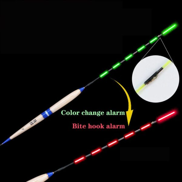 Smart Fishing Float Bite Alarm Fish Bait LED Light Color Automatic Change Night Electronic Change Buoy Glow in the Dark CR425