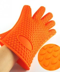 1pcs Heat Resistant Silicone Glove Cooking Baking BBQ Oven Pot Holder Mitts Kitchen Red Hot Looking