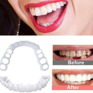 2pcs Perfect Fit Teeth Whitening False Teeth Cover Snap On Silicone Smile Veneers Teeth Beauty Tool Superior Teeth Cosmetics
