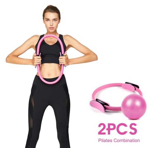 2PCS Professional Pilates Yoga Ring Kit Muscle Exercise Magic Circle Wrap Slimming Body Building Fitness Circle Yoga Accessories